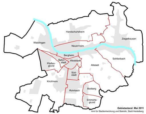 德國海德堡Heidelberg15大區Stadtteile