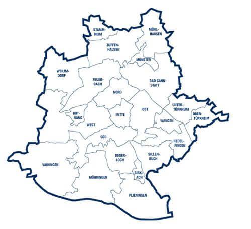 德國司徒加特23行政區Stadtbezirke