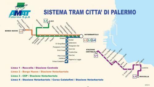義大利巴勒莫 Palermo Tram 電車地圖
