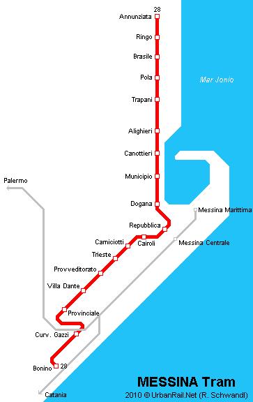 義大利墨西拿 Messina - atm tram map