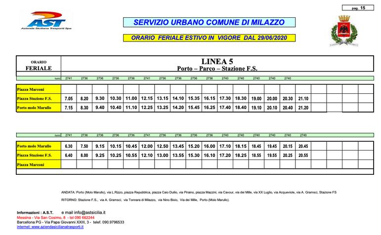 義大利米拉佐 Milazzo AST Bus - LINEA 5 Timetable